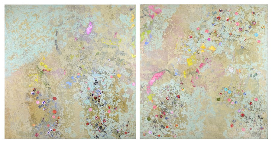 Diptych, made at St Paul's Cathedral (192 x 102cm, oil & mixed media on canvas, 2004)