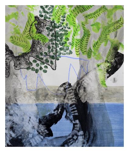 'Blue Sofa' (57 x 67cm acrylic & mixed media on paper, 2017)