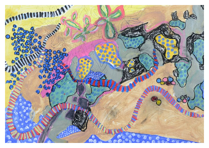 'Blue Present' (57 x 40cm acrylic & mixed media on paper, 2017)  £330