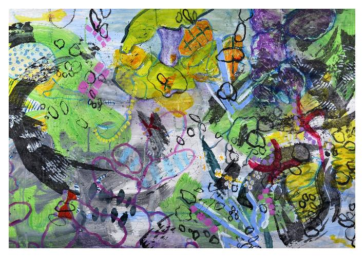 'Dream' (82 X 57cm, acrylic & mixed media on paper, 2015)