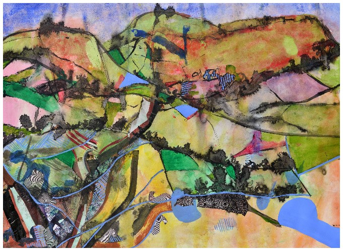 'Country' (72 x 53cm, acrylic & mixed media on paper, 2015) SOLD