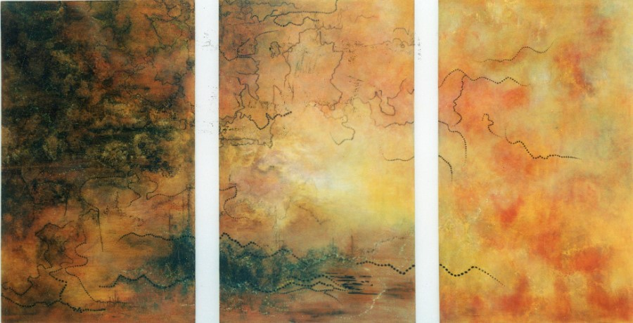 'Father, Son, Spirit', made Wesminster Cathedral (274 x 152cm, triptych, oil on canvas, 2002) SOLD