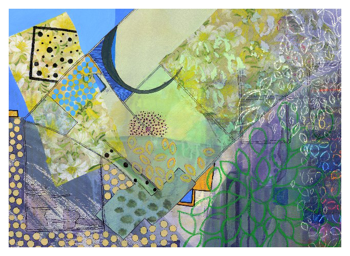 'Picnic' (74 x 53cm, acrylic & mixed media on paper, 2017)