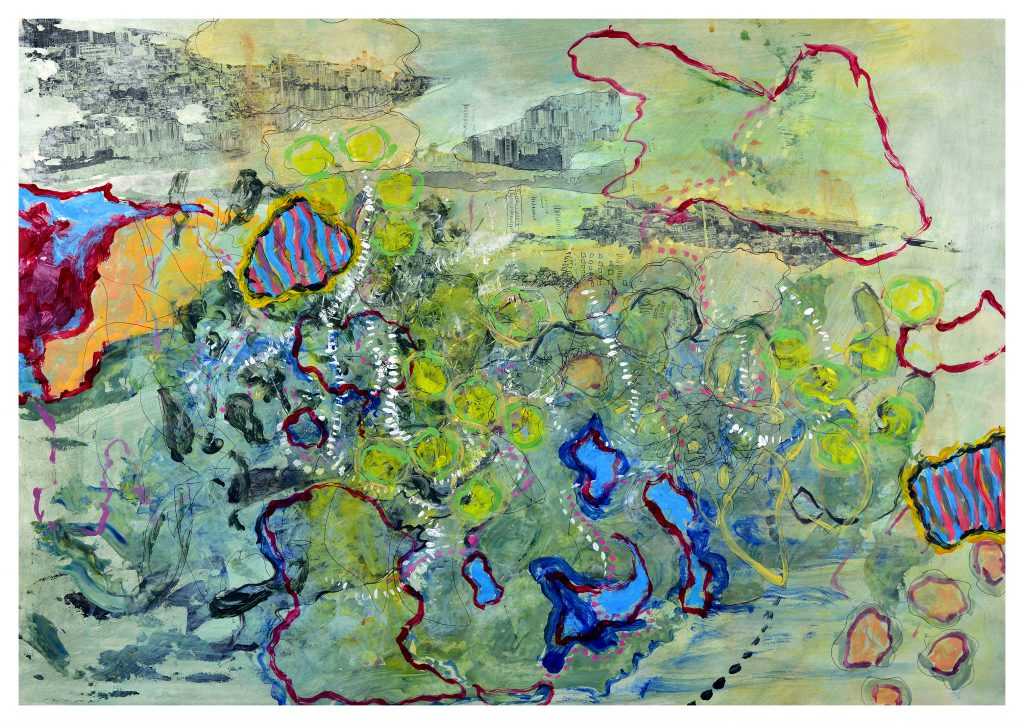 'Remembering Richmond' (82 x 57cm, acrylic & mixed media on paper, 2015)