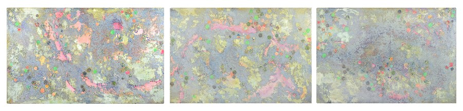 Triptych, made at St Paul's Cathedral (285 x 61 cm, oil and mixed media on canvas, 2004)