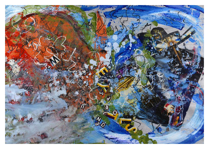 'We are Flying (82 x 57cm, acrylic & mixed media on paper, 2015)