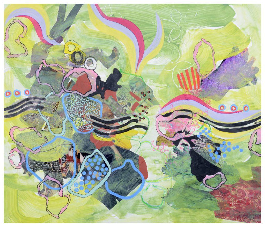 'Swim' (67 x 57cm, acrylic & mixed media on paper, 2017)