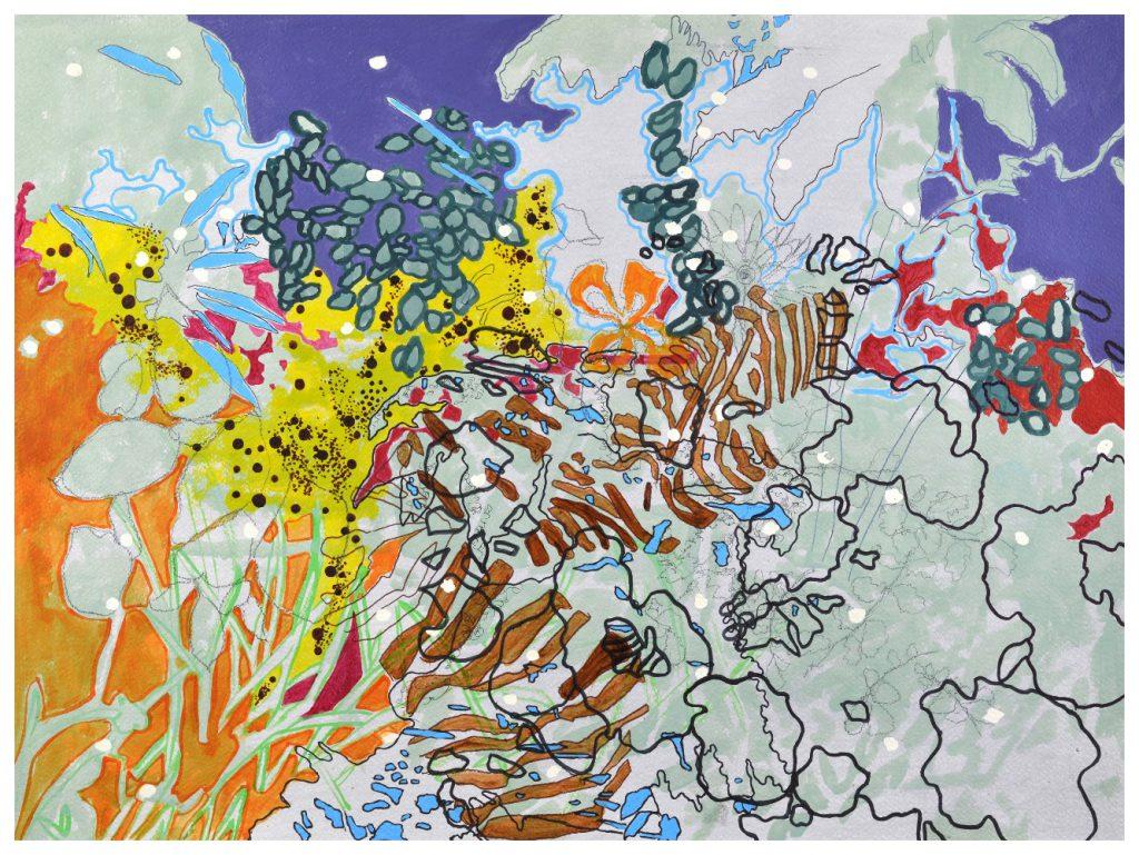 'Lemon Syllabub' (74 x 54cm, acrylic & mixed media on paper, 2016) SOLD