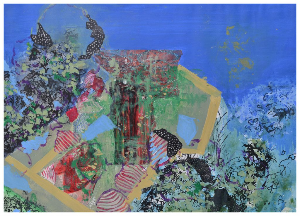 'Shared Garden' (72 x 53cm, acrylic & mixed media on paper, 2015) SOLD