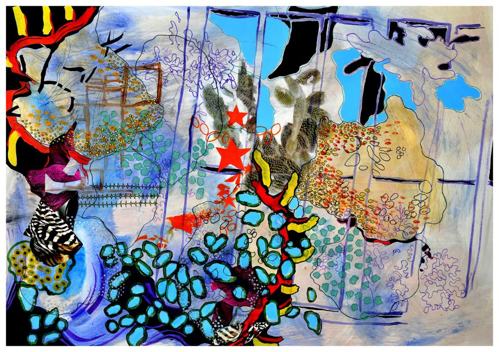'The Lion Tamer' (82 x 57cm, acrylic & mixed media on paper, 2016) SOLD