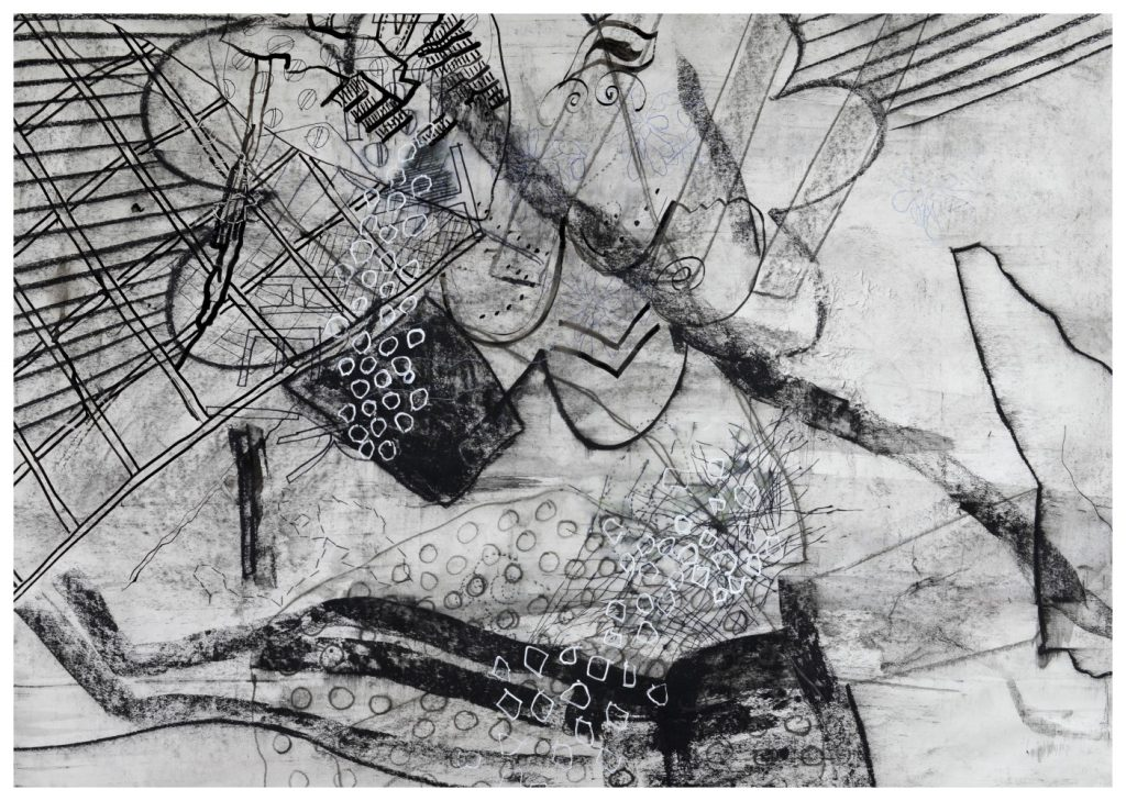 'Daddy Long Legs' (82 x 57cm, charcoal and hand stitching on paper, 2018)