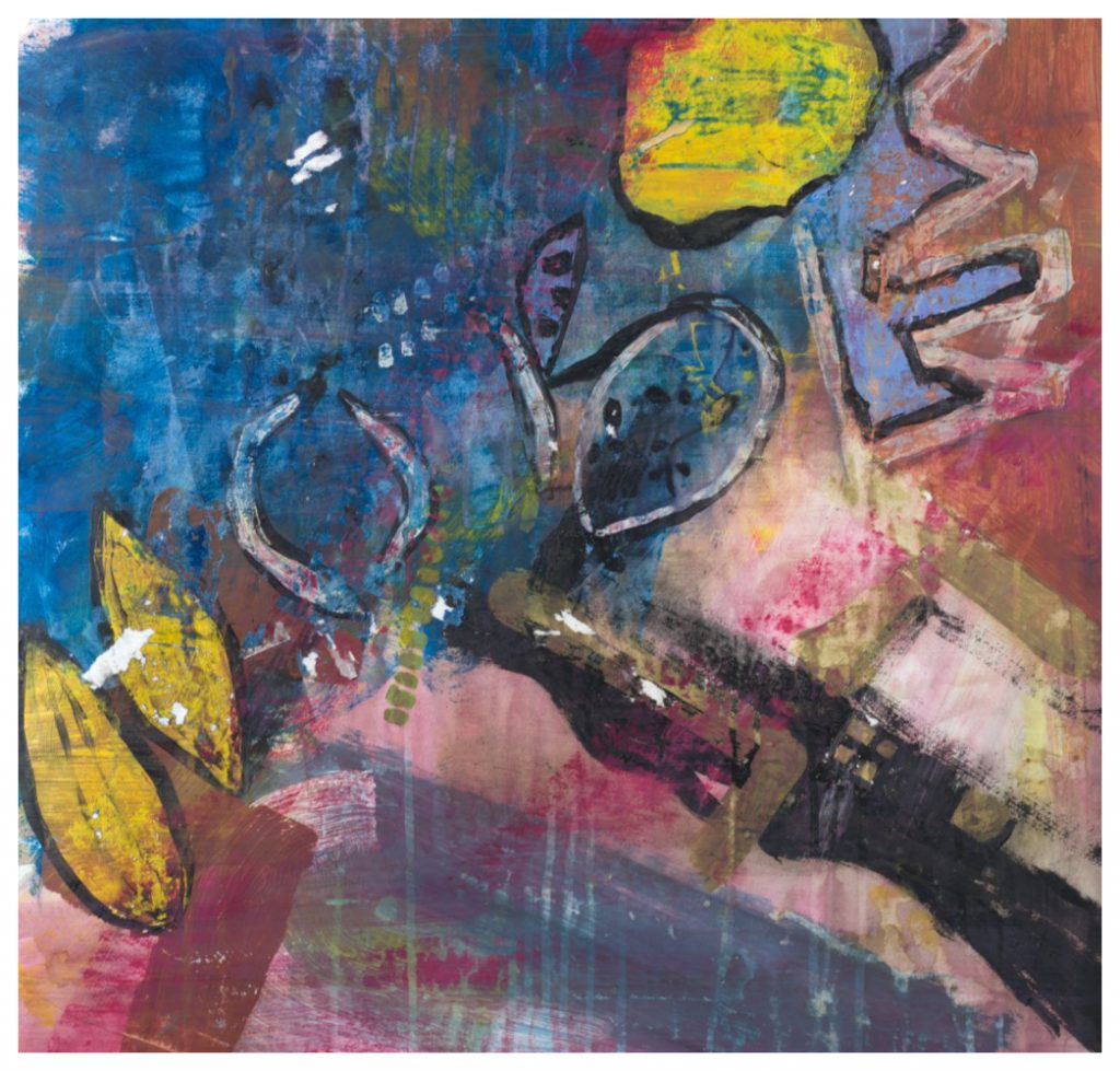 'Spilt Coffee' (60 x 58 cm, acrylic on paper, 2019)